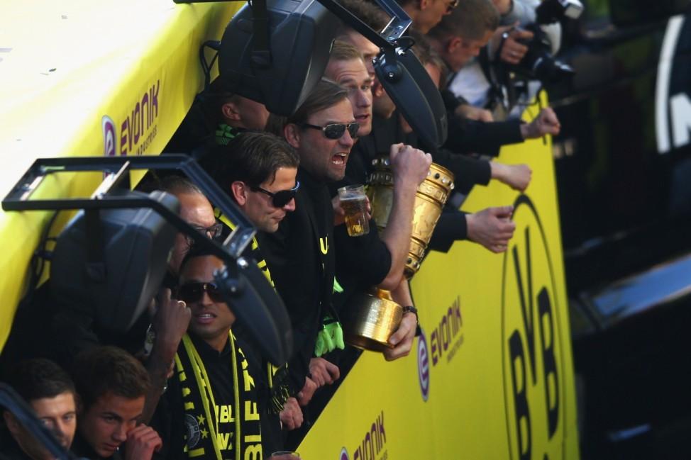Borussia Dortmund Celebrate Winning Bundesliga and DFB Cup