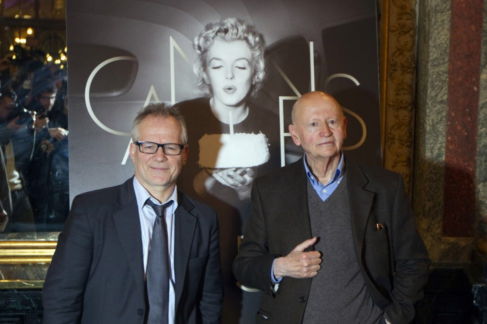Cannes Film Festival general delegate Fremaux and its director Jacob pose at news conference to announce competing films at 65th Cannes Film Festival, in Paris