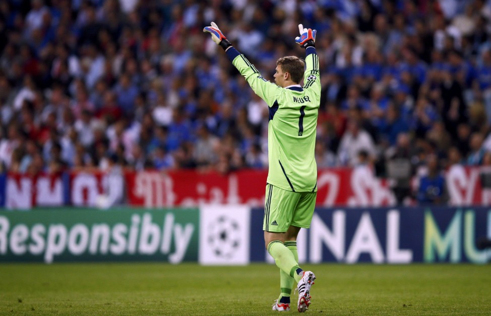 Bayern Munich's goalkeeper Neuer rescts during their Champions League final soccer match against Chelsea at the Allianz Arena in Munich