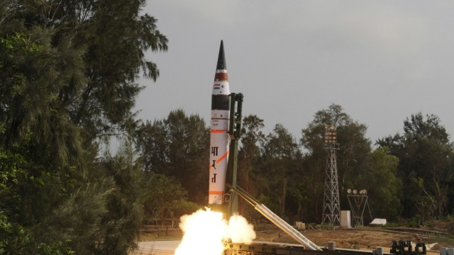 A surface-to-surface Agni V missile is launched from the Wheeler Island off the eastern Indian state of Odisha