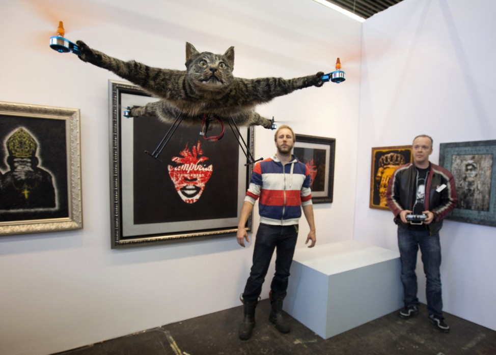The Orvillecopter by Dutch artist Jansen flies in a gallery as part of the KunstRAI art festival in Amsterdam