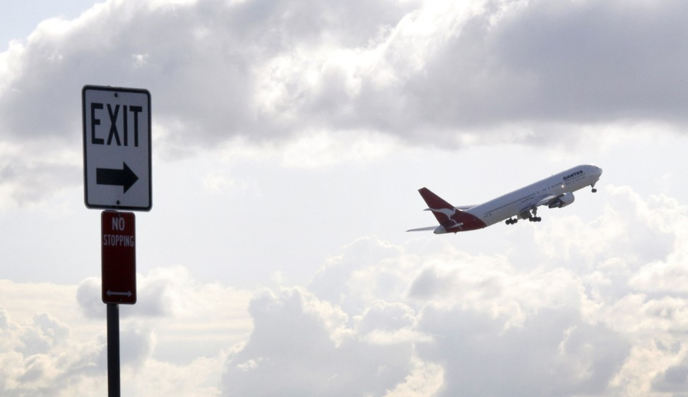 Qantas Airways passenger plane takes off from Sydney airport