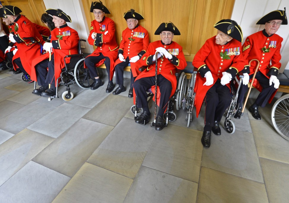 Chelsea pensioners attend the annual Founder's Day parade at the Royal Hospital in Chelsea