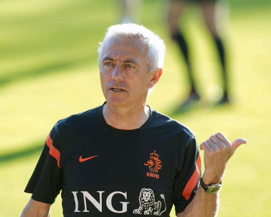 Van Marwijk of the Netherlands gestures during his team's training session in preparation for the Euro 2012 soccer championships, in Hoenderloo