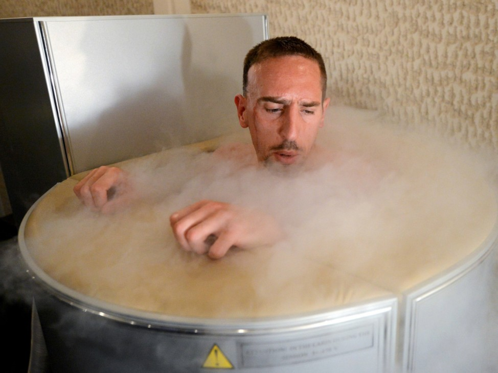 France's national soccer team midfielder Ribery is seen in a sauna at the team's training center in Kircha