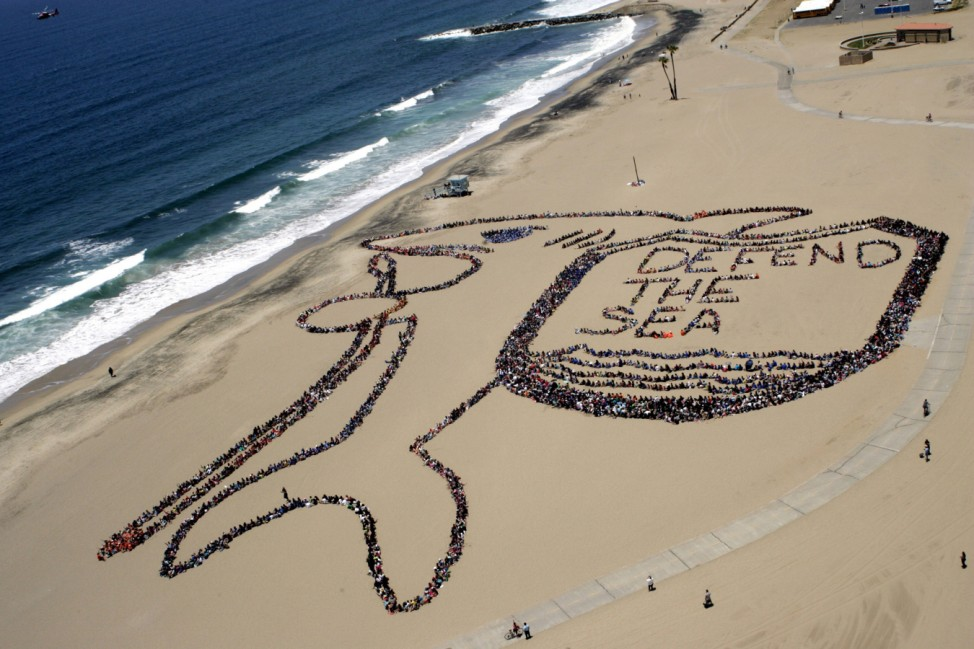 Los Angeles kids form massive message to say 'Defend the Sea' on Adopt-A-Beach Clean-Up day