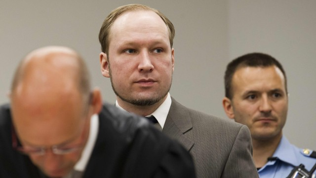 Anders Behring Breivik is pictured at a court in Oslo