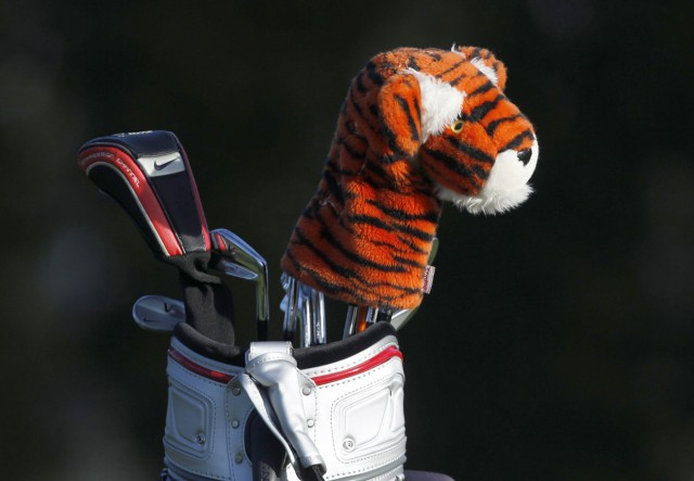 Woods' golf bag is shown with his tiger driver cover as he played a practice round during a practice round for the 2012 U.S. Open PGA golf tournament at the Olympic Club in San Francisco