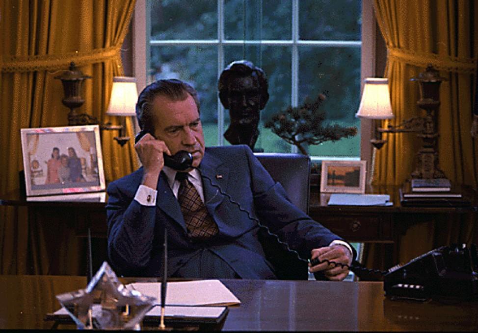FILE PHOTO OF RICHARD NIXON ON THE TELEPHONE