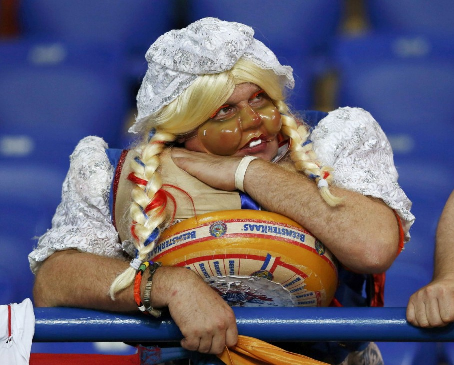 Netherlands' fan reacts at the end of their Group B Euro 2012 soccer match against Germany at the Metalist stadium in Kharkiv