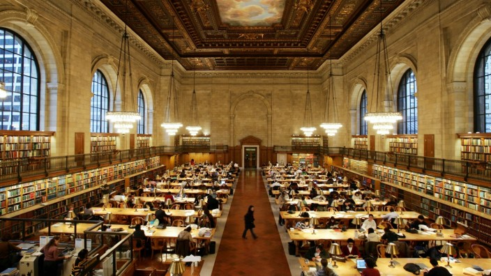 Main reading room of New York Public Library after NYPL announced partnership with Google