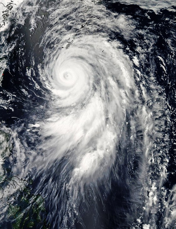 A MODIS image from NASA's Aqua satellite shows Typhoon Guchol approaching on its northward journey over Japan