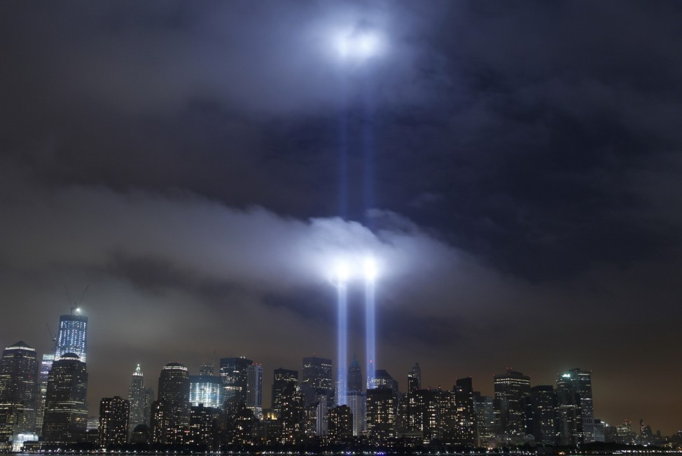 The 'Tribute in Lights' is illuminated over the skyline of Lower Manhattan in New York