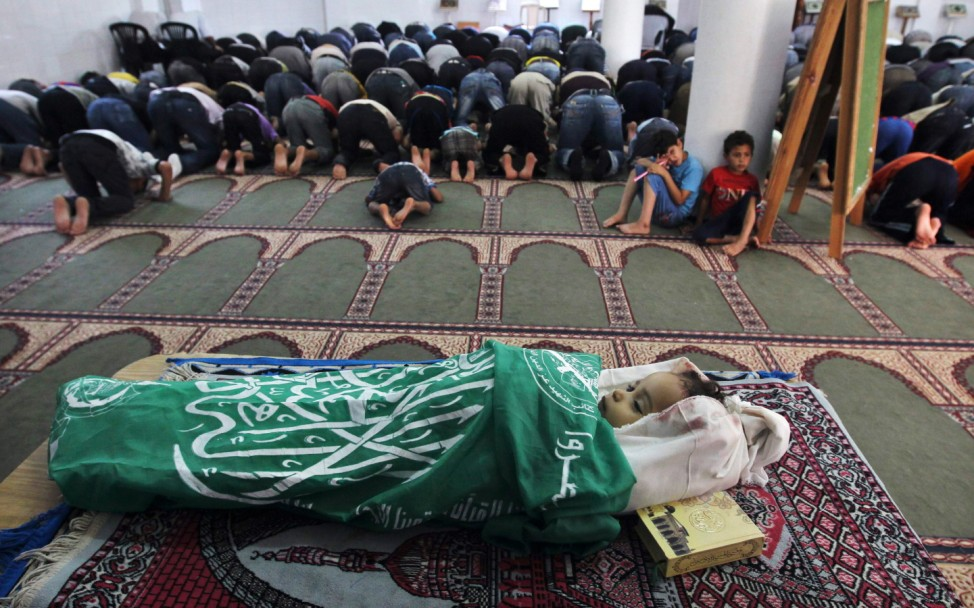 The body of Hadeel al-Hadad lies in a mosque in Gaza City during her funeral