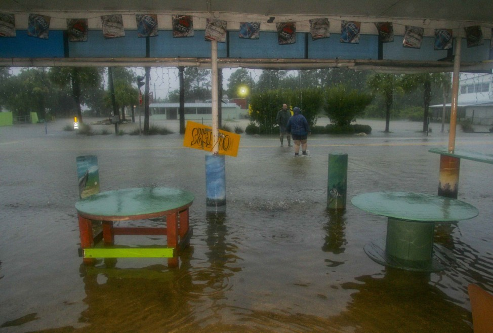 The outside dining area of the St. Marks River Cantina is under water in St. Marks