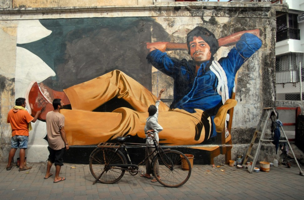 Bollywood stars depicted on walls in Mumbai to commemorate 100 ye