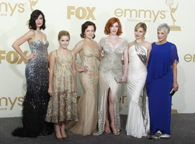 The female cast of 'Mad Men' pose after winning outstanding drama series at the 63rd Primetime Emmy Awards in Los Angeles