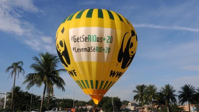 Streit um den WWF: Aktivisten des WWF demonstrieren während des Umweltgipfels in Rio. Viele Ziele der Organisation sind ehrenwert. Aber Kritiker werfen ihr eine zu große Nähe zur Industrie vor.