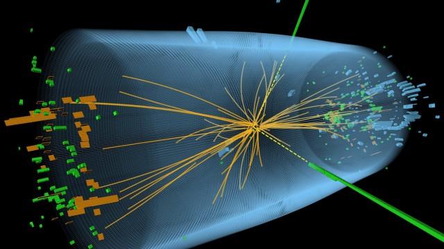 Cern: Spuren einer Kollision von zwei Protonen im Rahmen des CMS-Experiments am Cern. Mit diesen Versuchen wollen die Physiker den Higgs-Bosonen auf die Spur kommen. Nun haben sie einen Durchbruch erzielt.