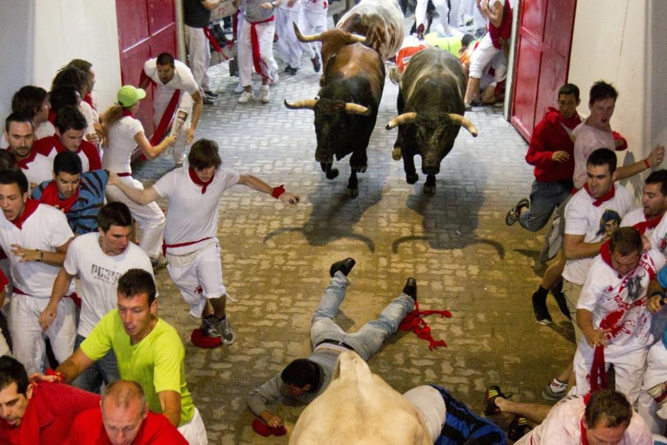 Second bull run in Pamplona Fiesta de San Fermin
