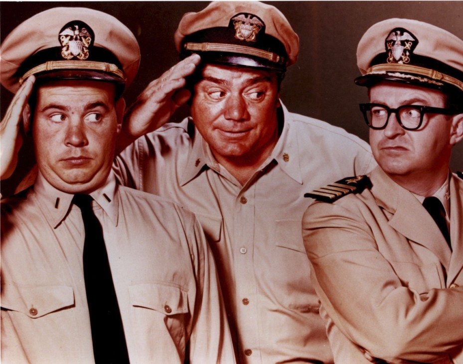 Actor Ernest Borgnine is shown in this undated publicity photograph from the popular 1960's television series 'McHale's Navy' along with co-stars Tim Conway and Joe Flynn.