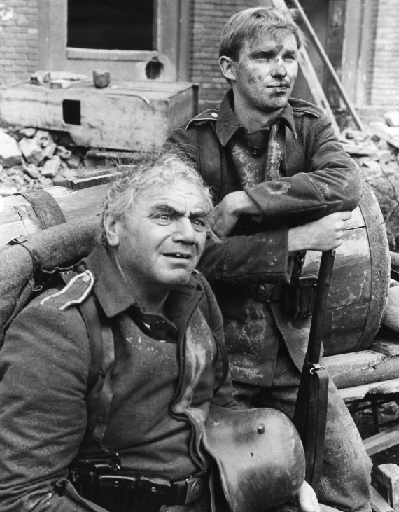 Ernest Borgnine and Richard Thomas in 1979 film All Quiet on the Western Front undated publicity photo.