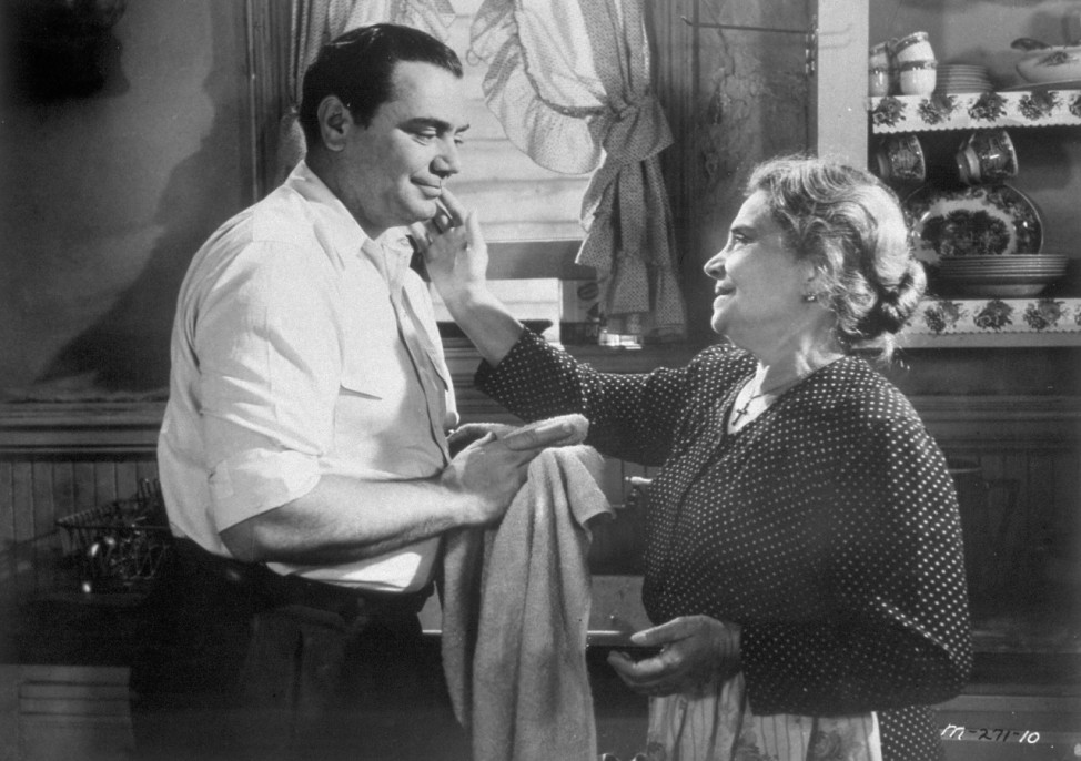 Actor Ernest Borgnine is shown in a scene from the 1955 film 'Marty' in which he portrays a lonely butcher