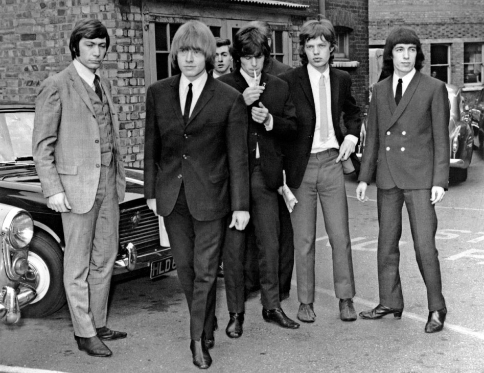 Charlie Watts, Brian Jones, Keith Richards, Mick Jagger, Bill Wyman (v.l.n.r.) 1965 in London