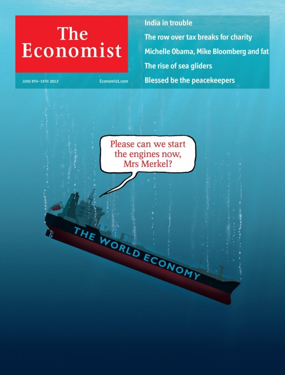 Handout image of the front cover of the June 9, 2012 issue of The Economist magazine