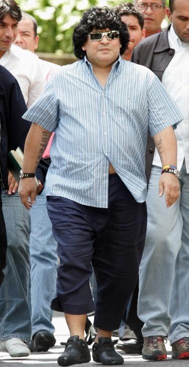 Argentine soccer legend Diego Maradona arrives at Miraflores in Caracas