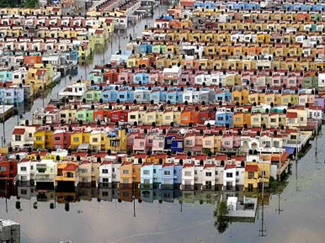 Überschwemmtes Wohngebiet in Mexiko