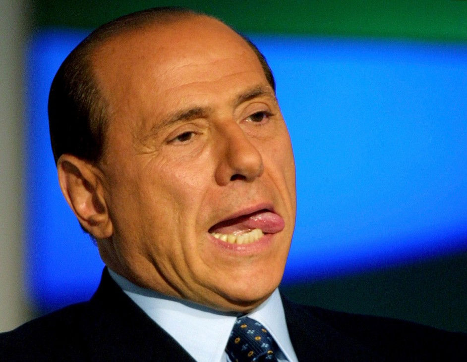 CENTRE-RIGHT CANDIDATE SILVIO BERLUSCONI  DURING A TELEVISION TALK SHOW IN ROME