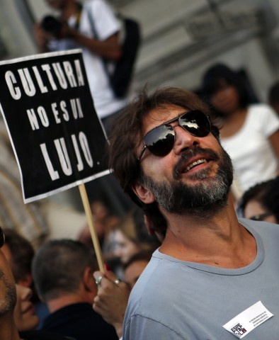 Spanish actor Javier Bardem attends a protest against government austerity measures in Madrid