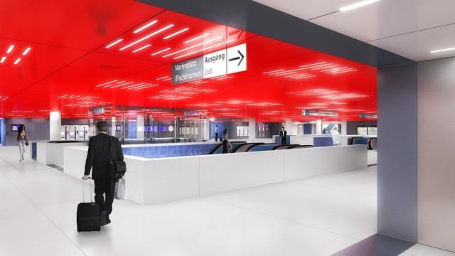 Umbau am Marienplatz: Die Farbe Rot wird vom Jahr 2015 an im Zwischengeschoss unter dem Marienplatz dominieren. Simulation: Allmann Sattler Wappner