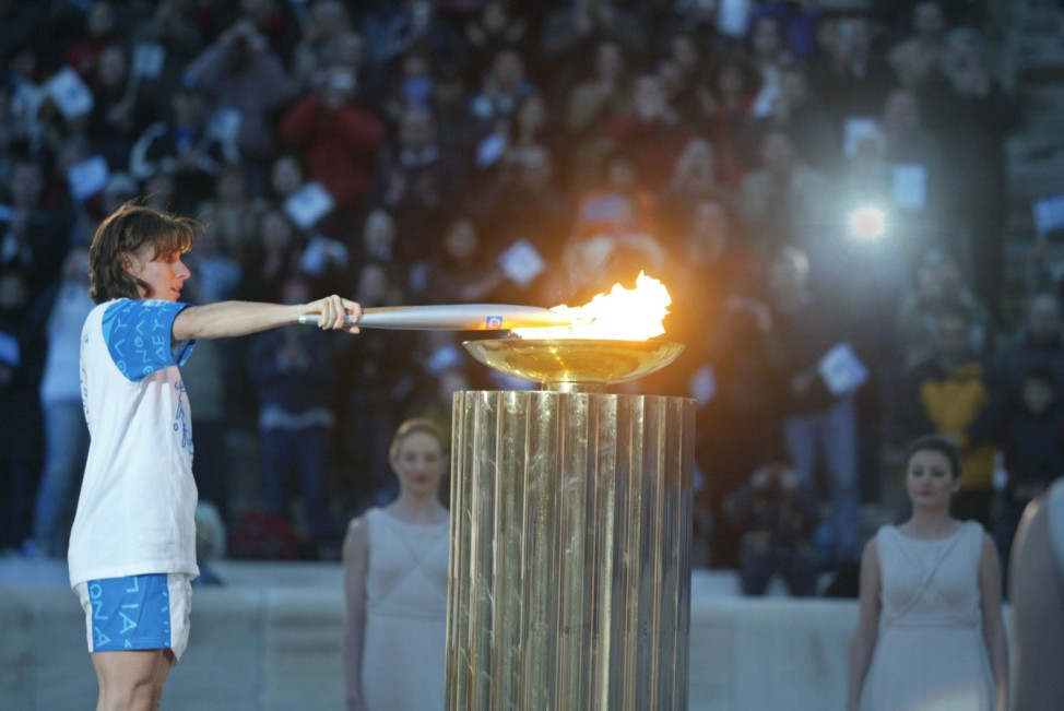 Olympic Torch Arrives At Panathinaiko Stadium