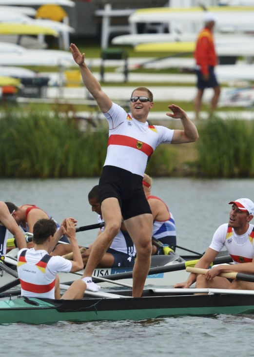 A member of Team Germany celebrates winning the men's eight Final A to win gold at Eton Dorney during the London 2012 Olympic Games