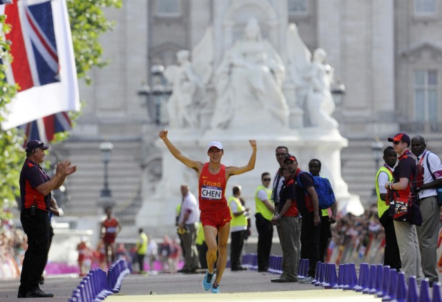 China's Chen Ding wins the men's 20km race walk final at the London 2012 Olympic Games at The Mall