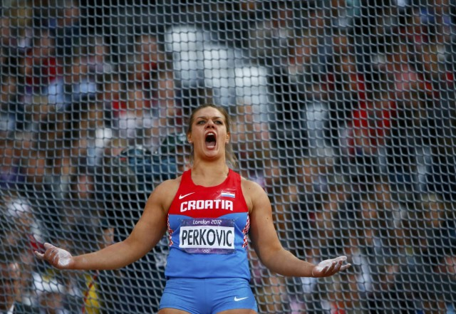 Croatia's Sandra Perkovic reacts during the women's discus throw final at the London 2012 Olympic Games