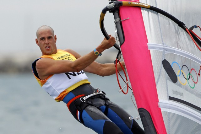 Netherlands' Dorian van Rijsselberge sails during the third race of the men's RS-X sailing class at the London 2012 Olympic Games