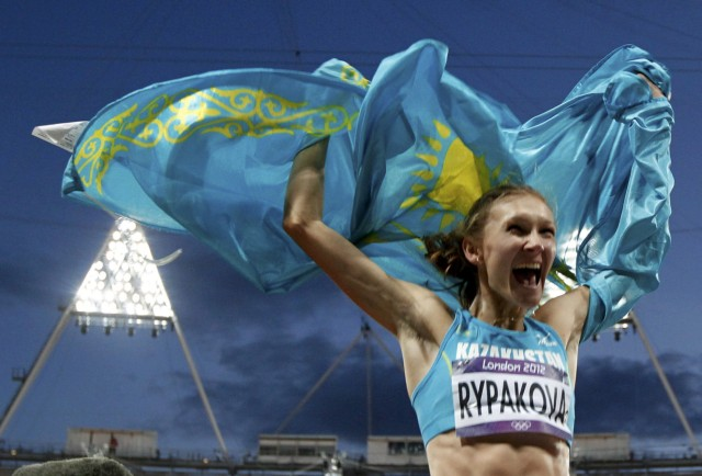 Kazakhstan's Olga Rypakova reacts after winning the women's triple jump final during the London 2012 Olympic Games at the Olympic Stadium