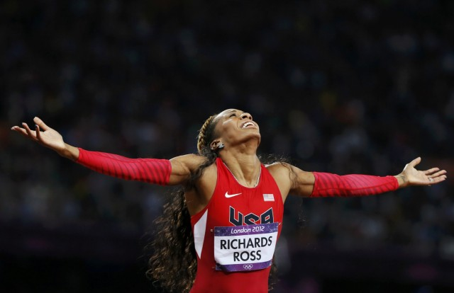Sanya Richards-Ross of the U.S. celebrates winning the gold medal in the women's 400m final during the London 2012 Olympic Games at the Olympic Stadium