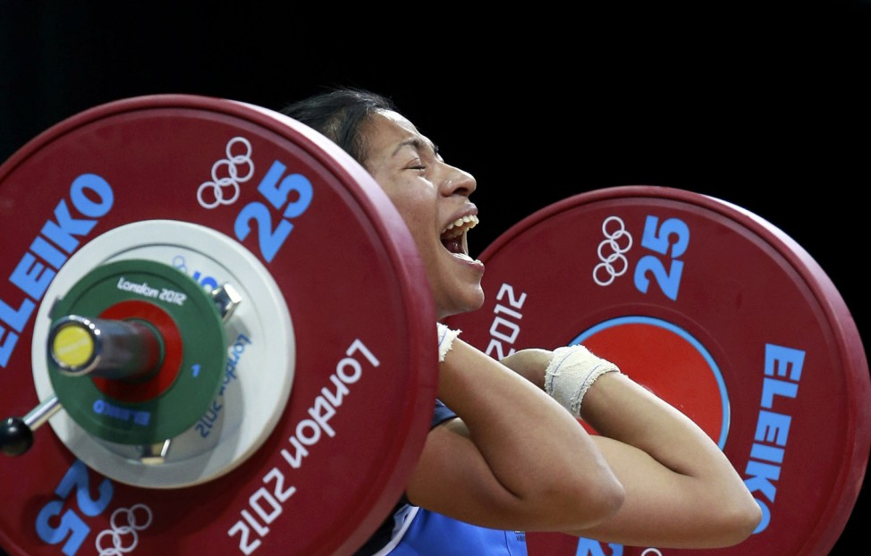 Madagascar's Harinelina N Rakotondramanana competes on the women 48Kg Group A weightlifting competition at the London 2012 Olympic Games