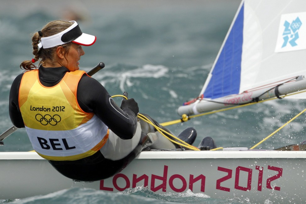 Belgium's Evi Van Acker sails in the ninth race of the women's Laser Radial class at the London 2012 Olympic Games