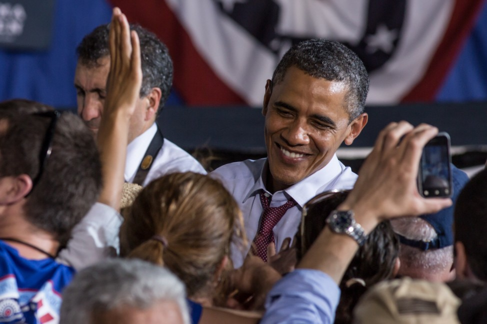 Obama Holds Campaign Event At Virginia High School