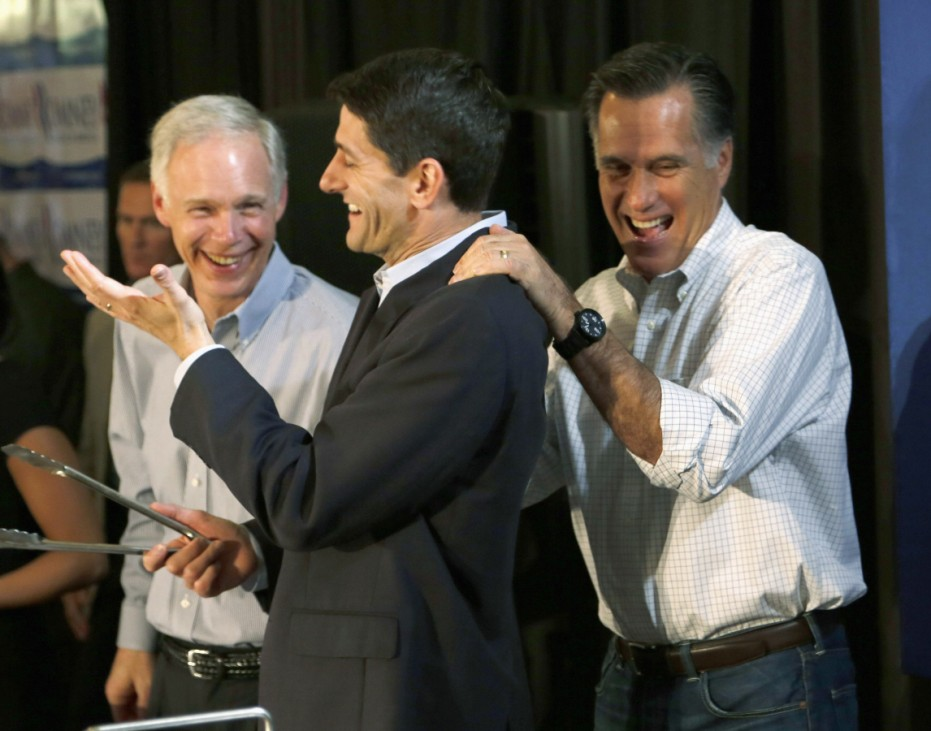 File photo of U.S. Senator Ron Johnson, congressman Paul Ryan and Republican presidential candidate Mitt Romney attending a pancake breakfast in Wauwatosa