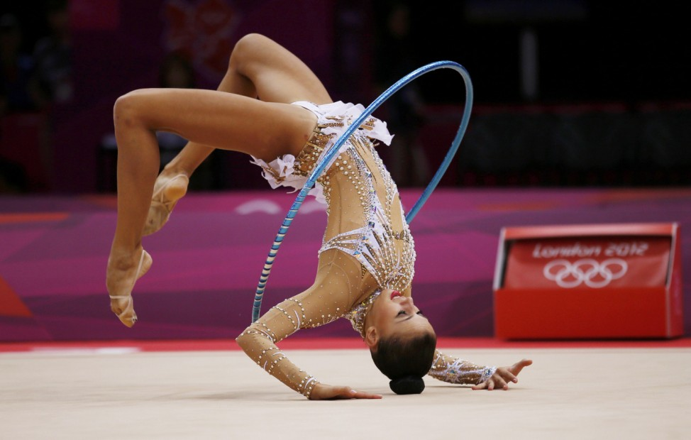 Russia's Daria Dmitrieva competes using the hoop in the individual all-around rhythmic gymnastics final at the London 2012 Olympic Games