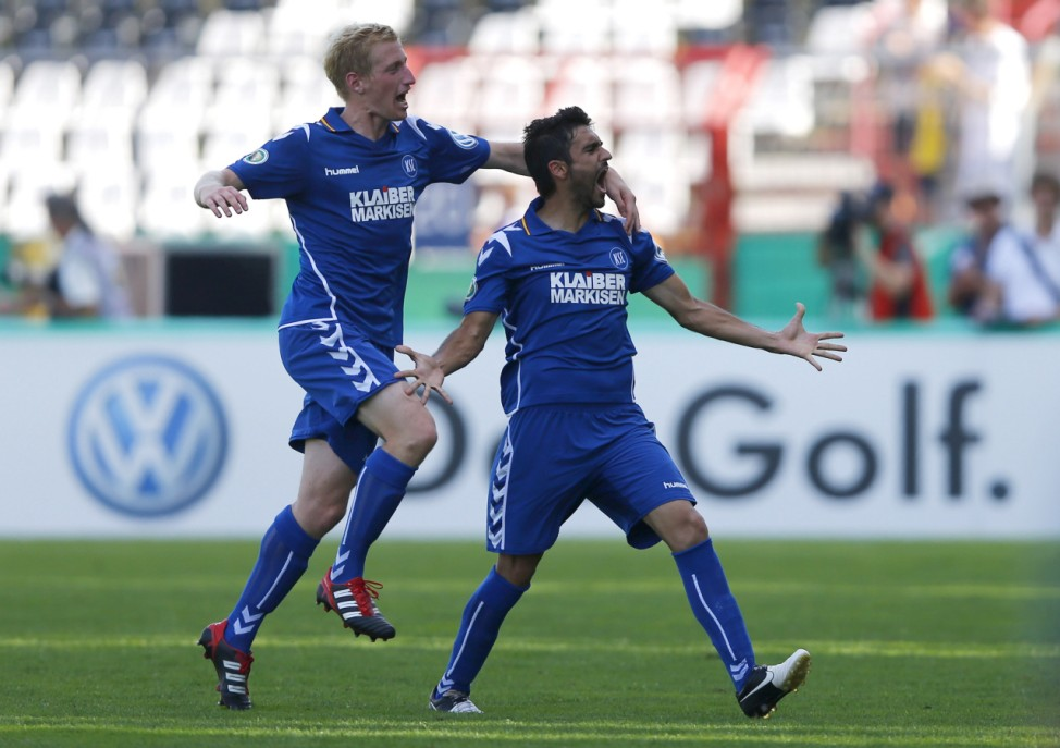 Alibaz of Karlsruhe SC celebrates goal against HSV Hamburg during German soccer cup match in Karlsruhe