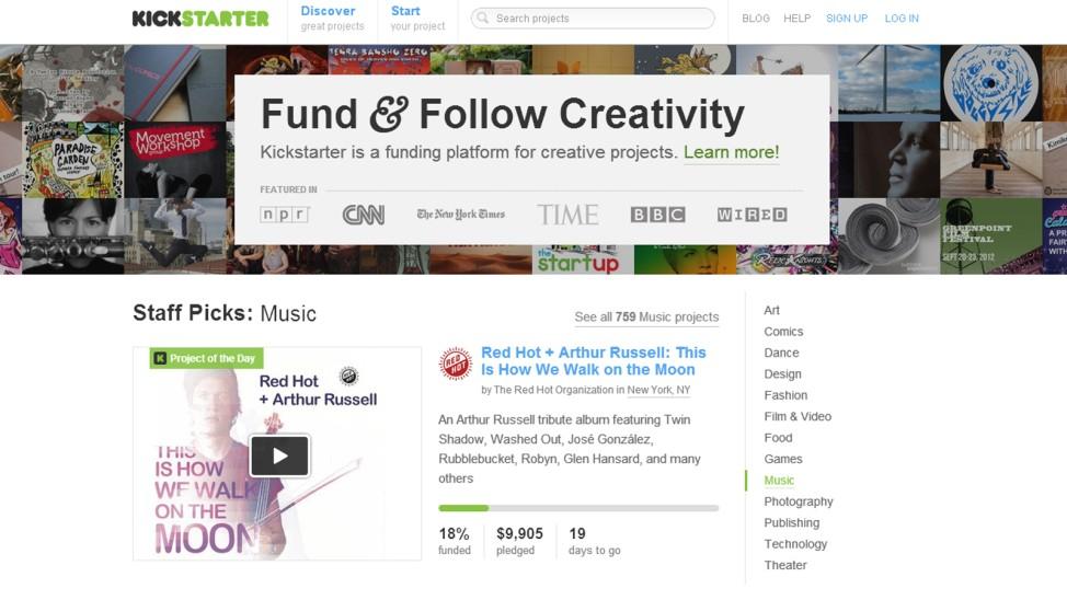 Screenshot der Seite Kickstarter