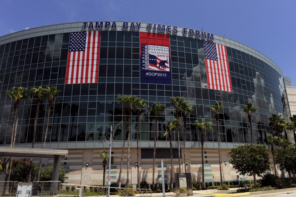 Republican National Convention logos and fences go up around the