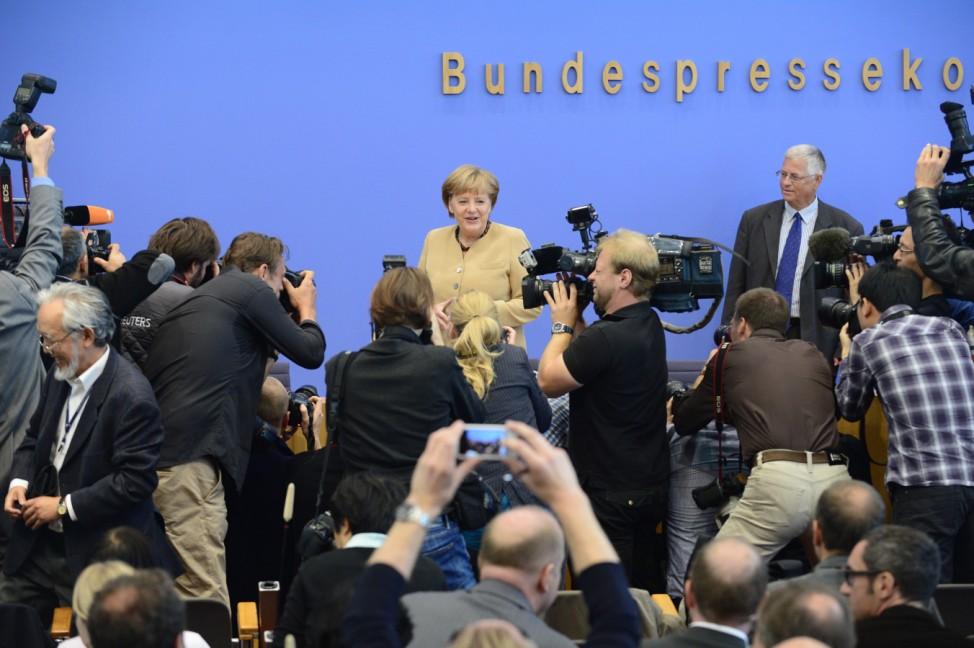 Angela Merkel bei der Bundespressekonferenz 2012